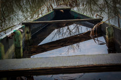 Old wooden boat on the swamp. Old wooden boat filled with water on the swamp Stock Photography