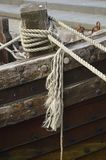 Old wooden boat tied up detail Marina at Faaborg, Denmark. Old wooden boat tied up detai Historic coastal town of Faaborg, South denmark on the island of funen royalty free stock image