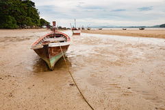 Old wooden boat wreck on the beach Stock Photo