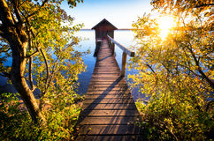 Old wooden boathouse Stock Image
