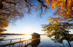Old wooden boathouse Stock Images