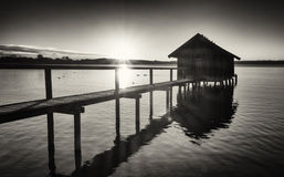 Old wooden boathouse Stock Photo