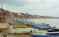Old wooden boats on the bank of Ganges Royalty Free Stock Image
