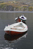Old wooden boats in Lofoten royalty free stock images