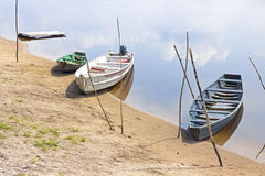 Old wooden boats moored to Amazon river shore in Brazil Royalty Free Stock Photography