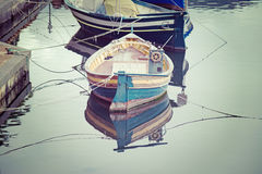 Old wooden boats in vintage tone Stock Photo
