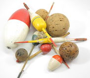 Old Wooden Bobbers Everywhere. A huge variety of old wooden bobbers and floats Stock Image