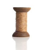Old wooden bobbins of thread, vintage Stock Photo
