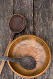 Old wooden bowl and spoons Stock Photography