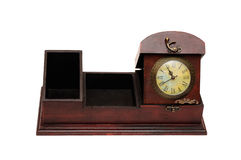 Old wooden box and clock Stock Photography