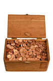 Old Wooden Box Full of Pennies Royalty Free Stock Image