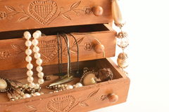Old wooden box for jewelry Stock Images