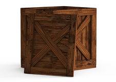 Old wooden box with lid open  on white Royalty Free Stock Photography