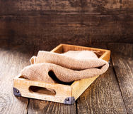 Old wooden box with sack Stock Photography