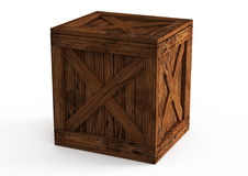 Old wooden box  on white Stock Photo