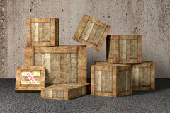 Old wooden boxes Stock Image