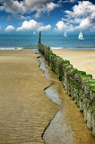 Old wooden breakwater on the beach Stock Images