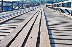 Old wooden bridge. In Thailand royalty free stock photo