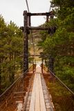 Old wooden bridge across. Close-up of an old wooden bridge across a mountain river, on the back of coniferous green trees and a mountain on a warm summer day stock image