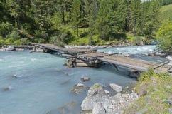 Old wooden bridge. Altai Mountains, Russia. Stock Photos