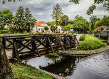 Old wooden bridge in Barczewo, Poland Stock Photos