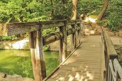 Old wooden bridge. In a beautiful garden, springtime Royalty Free Stock Photos