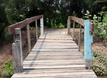Old wooden bridge crossing the brook and background the green tr stock photography