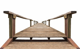 Old wooden bridge isolated on white background. Old brown bridge made from wood and iron which isolated on white background stock image