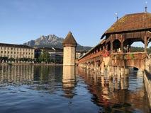 Old wooden bridge, Kapellbrucke, Luzern,switzerland stock photo