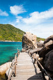 The old wooden bridge of Koh Nang Yuan Royalty Free Stock Image