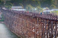 Old wooden bridge Mon in Sangkhla Buri, province Kanchanaburi, T Stock Photo
