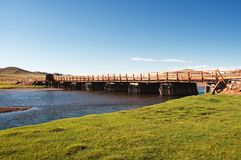 Old wooden bridge in Mongolia Royalty Free Stock Photos