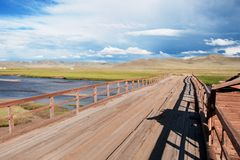 Old wooden bridge in Mongolia Stock Photography
