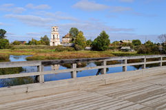Old wooden bridge in North Russia Royalty Free Stock Photos