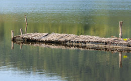 Old Wooden bridge over lake Stock Photography