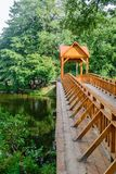 Old wooden bridge over the river with arbor. Forest River. royalty free stock photography