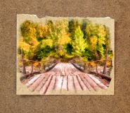 Wooden bridge over the river, trees in golden dress. Russian aut. Old wooden bridge over the river, trees in golden dress. Russian autumn watercolor landscape on Royalty Free Stock Image