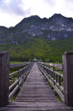 Old wooden bridge path to pavillion and lagoon Stock Images