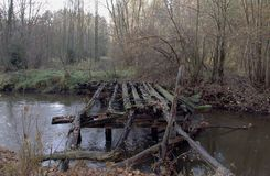 Old wooden bridge. Royalty Free Stock Photos