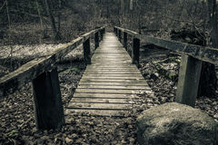 Old wooden bridge with planks Royalty Free Stock Image