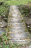 Old wooden bridge without railings Royalty Free Stock Photos