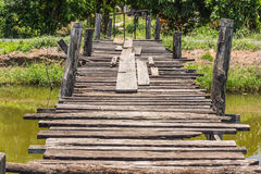 The old wooden bridge on Royalty Free Stock Images