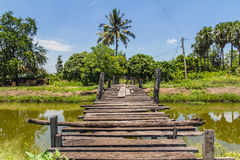 The old wooden bridge on Royalty Free Stock Image