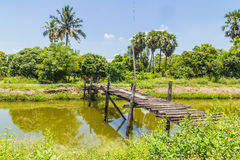The old wooden bridge on Royalty Free Stock Photography