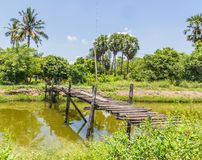 The old wooden bridge on Royalty Free Stock Photo