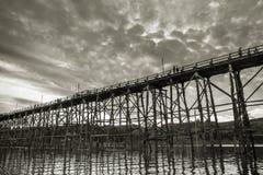 The old wooden bridge in Sangklaburi, Kanchanaburi Province Stock Images