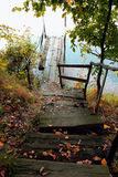 Old wooden bridge to the lake Royalty Free Stock Photography