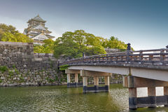 Old wooden bridge to Osaka Castle, Japan most famous historic landmark in Osaka City, Japan.  Stock Photos