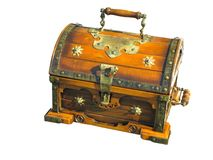 Old wooden brown vintage treasure chest isolated on white backgr stock photography