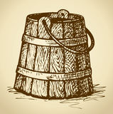 Old wooden bucket. Vector sketch Stock Photo